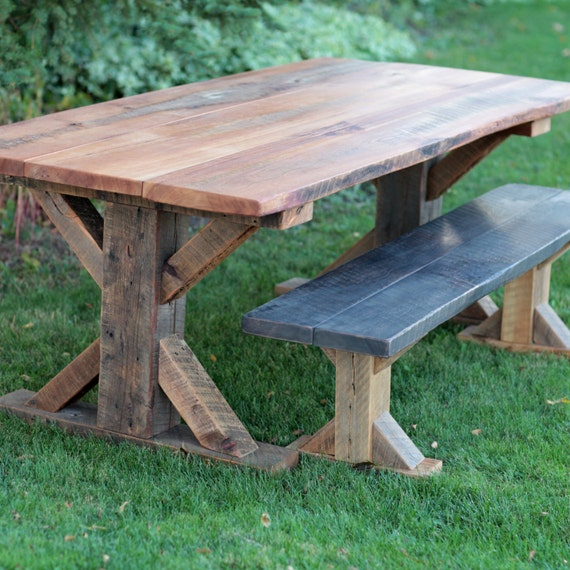 Astonishing 7 Long Farmhouse Table Barn Wood And 6 Long Bench X Style Legs Barn Beam Authentic Reclaimed Captivating Grain Free Shipping Ibusinesslaw Wood Chair Design Ideas Ibusinesslaworg