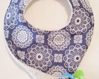 Pacifier Bib, Blue and White, adjustable size