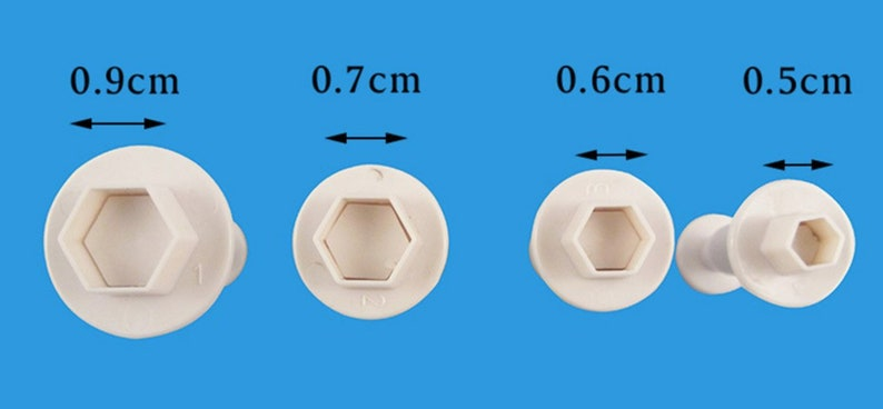 Mini Hexagon Plunger Cutters Set of 4 graduated sizes for image 4