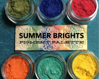 Summer Brights No Tray Pigments Mica Powders in loose jars for Polymer Clay and Mixed Media Shimmer