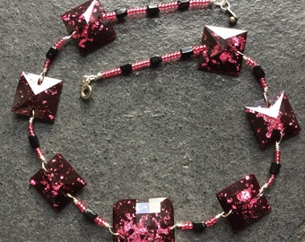 Pink and Black Perspex Necklace