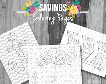 Savings Tracker Saving Goal Financial Organizer Coloring Pages