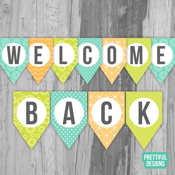 Welcome Back First Day Of School Banner Printable Instant Etsy