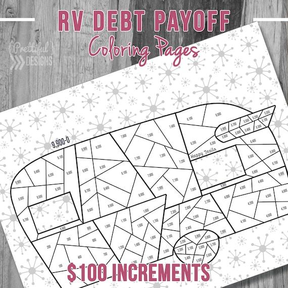Retro RV Camper Debt Payoff Coloring Pages Financial Organizer | Etsy