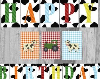 Farm Animal Cow Print Happy Birthday Banner - Digital File - Instant Download