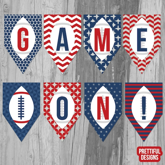 972a8600e Items similar to Game On NFL Football Playoff Printable Banner Navy and Red  - Instant Download on Etsy