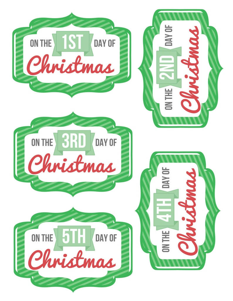 graphic relating to 12 Days of Christmas Printable Tags identify 12 Times of Xmas Printable Tags