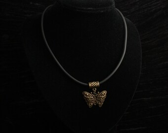 Antique Bronze Filigree Butterfly Pendant on Black Neoprene Necklace