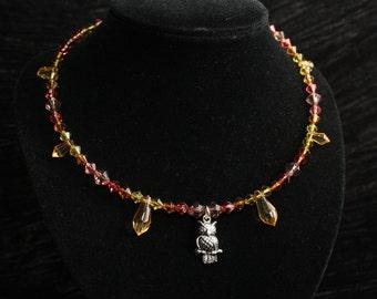 Autumn Owls Antique Silver Beaded Choker Necklace