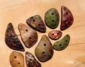 10 LARGE BUTTONS SET mix sizes colors shapes safe for children brown pin leather button big huge costume woodland style druid elf greenman