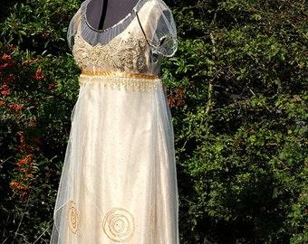 Gold Edwardian gown Titanic Dress Edwardian wedding dress Alternative wedding dress Maid of honour dress Handmade in England by Mona Bocca
