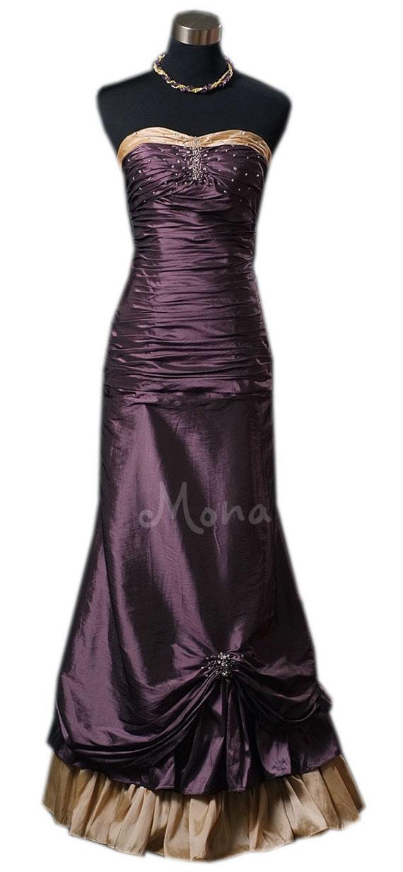 Viktorianischen Stil Aubergine Hochzeit Kleid Alternative