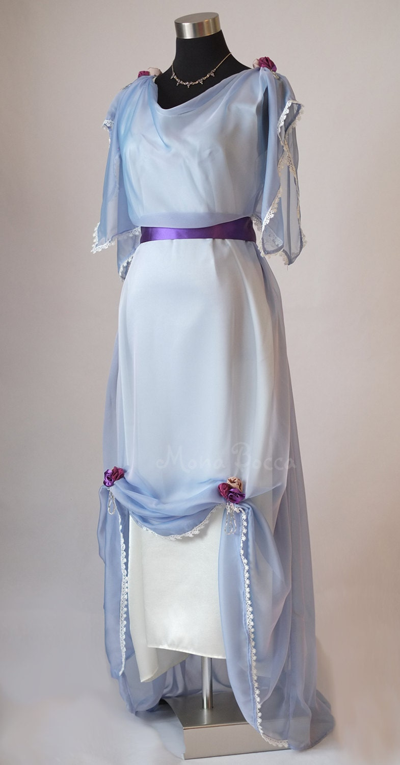Easy DIY Edwardian Titanic Costumes 1910-1915 Edwardian light blue evening dress made in England Downton Abbey inspired Titanic styled dress $329.86 AT vintagedancer.com