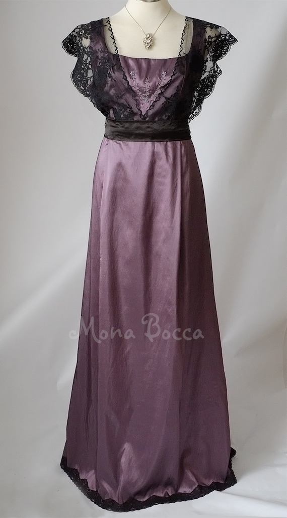 Edwardian Evening Gowns | Victorian Evening Dresses Edwardian dress plus size eggplant dress Amethyst purple Downton Abbey bridesmaids dress Titanic dress Mother of the Bride Groom dress $170.00 AT vintagedancer.com