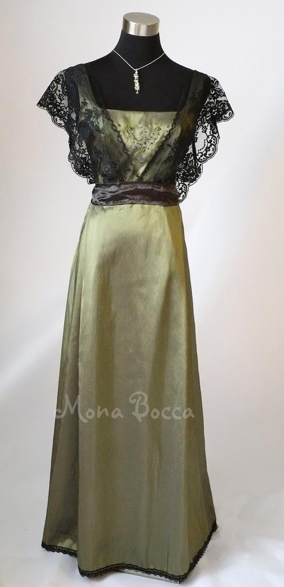 Edwardian Dress olive sage green Titanic dinner Downton Abbey | Etsy
