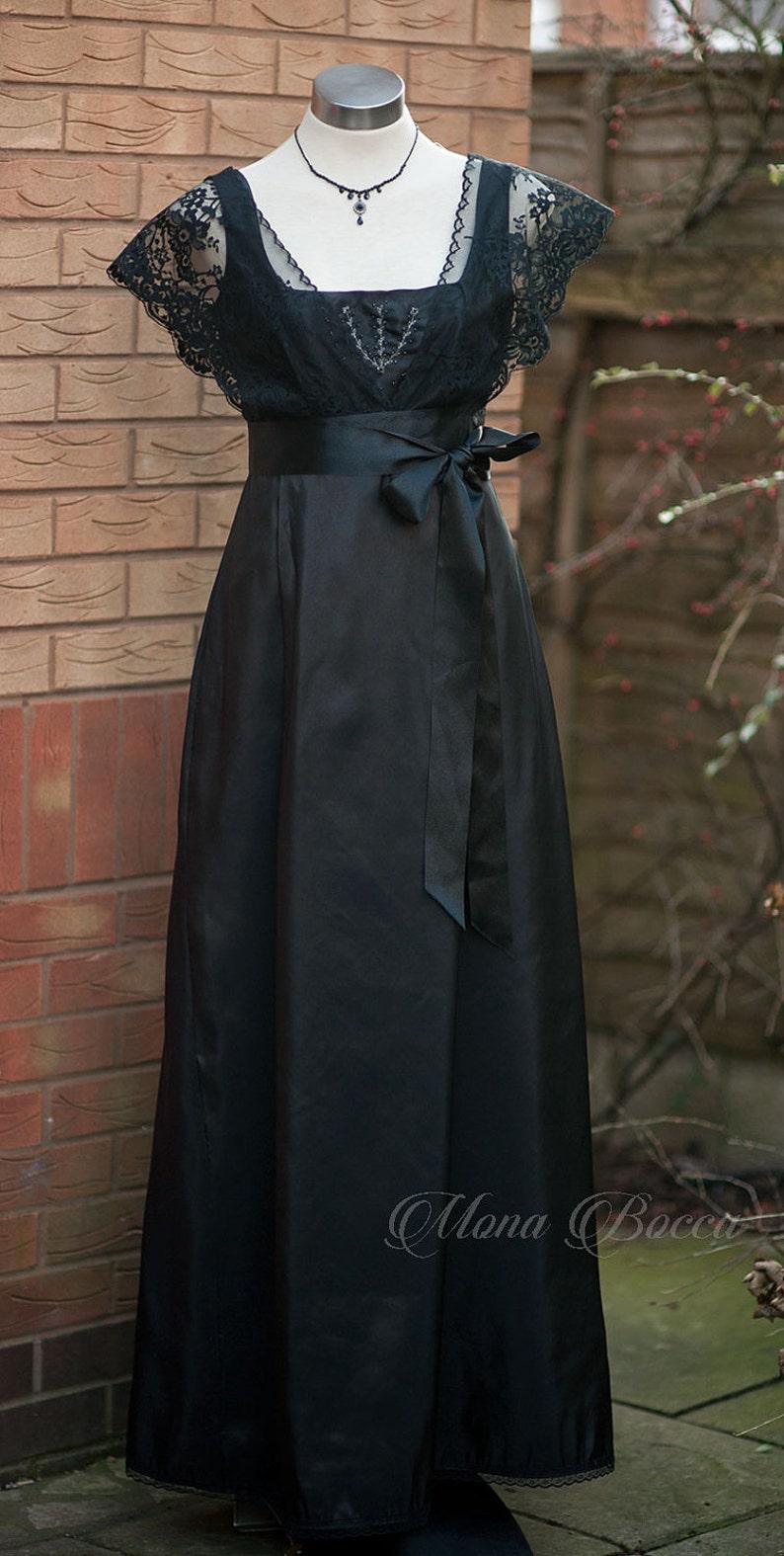 Edwardian Evening Gowns , Ballgowns, Formal Dresses     Black Edwardian dress Downton Abbey dress  Titanic 1912 black dress handmade in England Rose dress in black Evening dress $226.24 AT vintagedancer.com