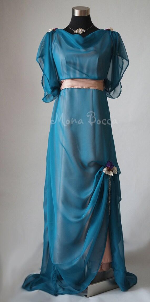 Edwardian Turkis Abendkleid Zeitraum Kleid Historische Etsy