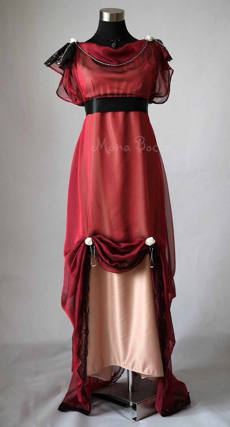 Edwardian Evening Gowns , Ballgowns, Formal Dresses Edwardian wine evening dress handmade in England Downton Abbey inspired Titanic 1912 dress styled Alternative wedding Burgundy red dress $372.00 AT vintagedancer.com