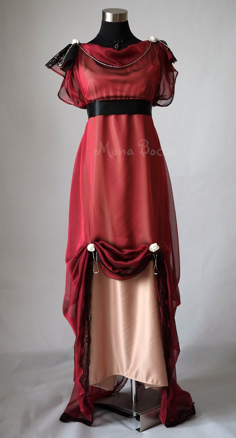 Vintage Tea Dresses, Floral Tea Dresses, Tea Length Dresses Edwardian wine evening dress handmade in England Downton Abbey inspired Titanic 1912 dress styled Alternative wedding Burgundy red dress $342.86 AT vintagedancer.com