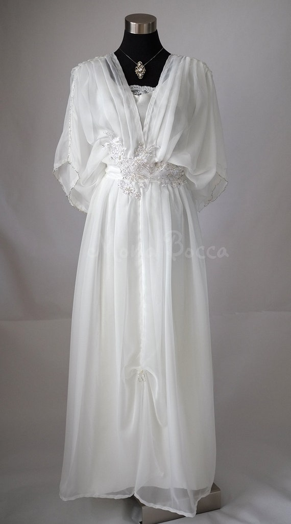 Victorian Edwardian Tea Dress and Gown Guide Edwardian ivory wedding dress Downton Abbey inspired handmade in England Lady Mary styled Made to order Express delivery $327.33 AT vintagedancer.com