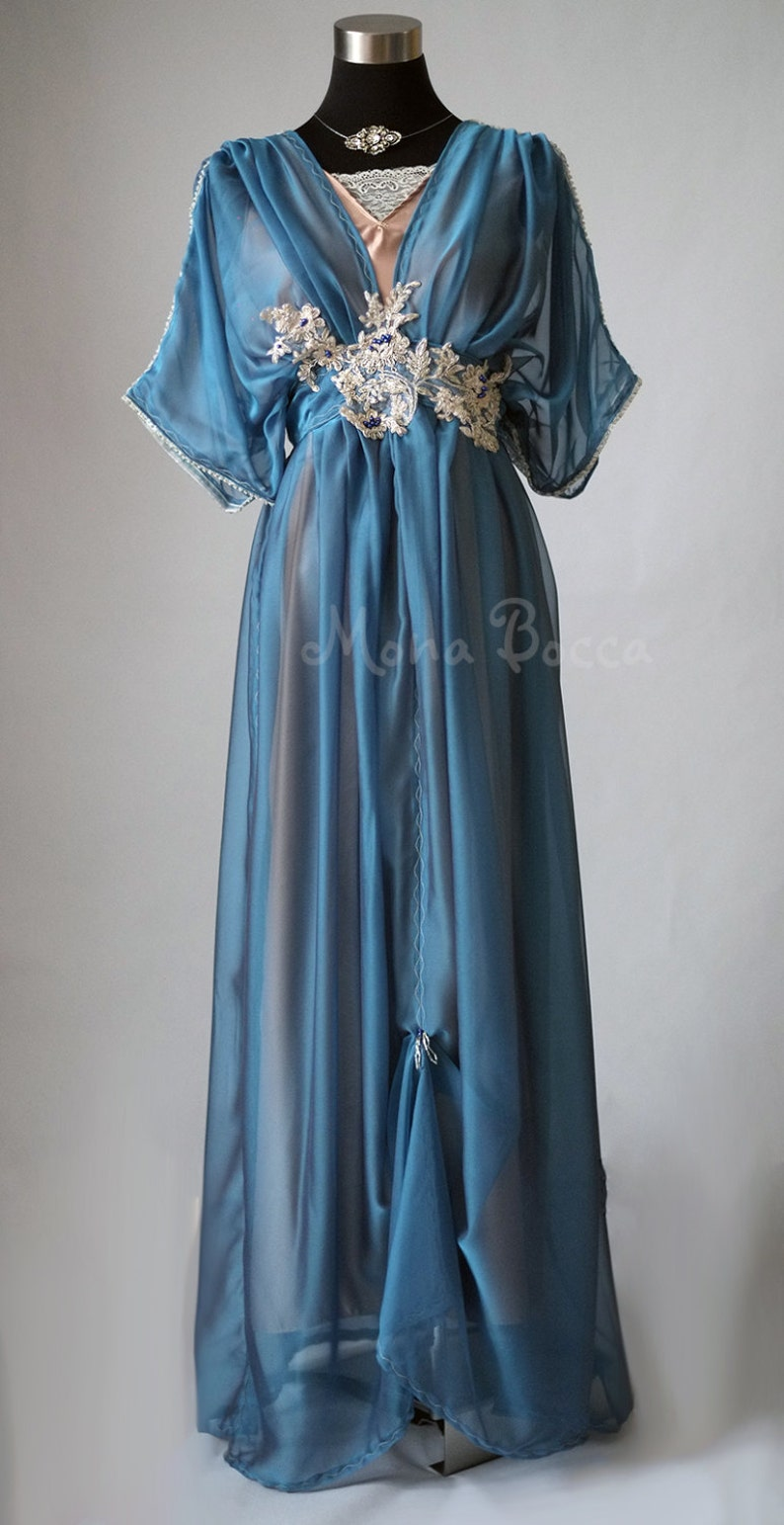 Edwardian Evening Gowns , Ballgowns, Formal Dresses Edwardian evening blue dress for Downton Abbey dinner Titanic event or alternative blue wedding dress 1912 gown Gibson girl plus size 0-30US $359.00 AT vintagedancer.com
