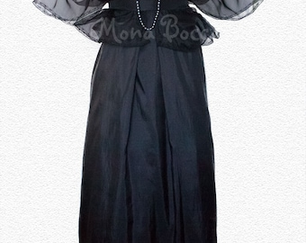 Black plus size Edwardian dress. Evening black dress with bolero Lady Mary Crawley of Downton Abbey styled.