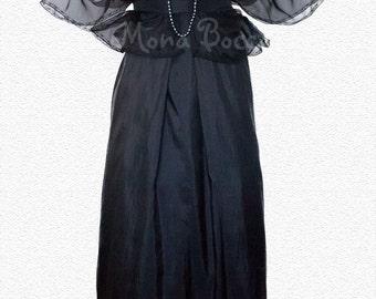 Black plus size Edwardian dress. Evening black dress with bolero Lady Mary Crawley of Downton Abbey styled.