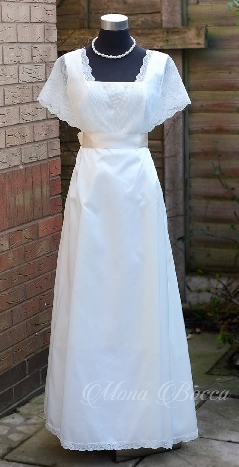 Victorian Wedding Dresses, Shoes, Accessories Ivory Edwardian styled wedding dress ivory debutante gown handmade in England Titanic vintage styled Made to order $254.00 AT vintagedancer.com