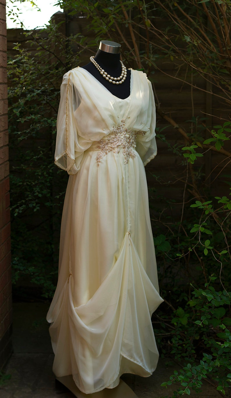Edwardian Evening Gowns , Ballgowns, Formal Dresses Edwardian era dress plus size Downton Abbey inspired. Alernative yellow cream wedding dress for Titanic Steampunk themed wedding $373.00 AT vintagedancer.com