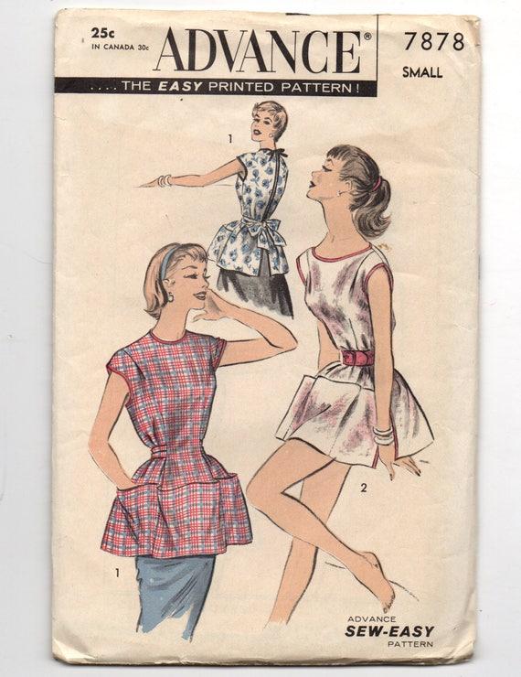 7878 Advance Sewing Pattern Cobbler Apron Side Neckline Poncho Etsy