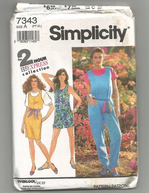 7343 UNCUT Simplicity Sewing Pattern Misses Jumpsuit Two Lengths Jumper 2 Hour
