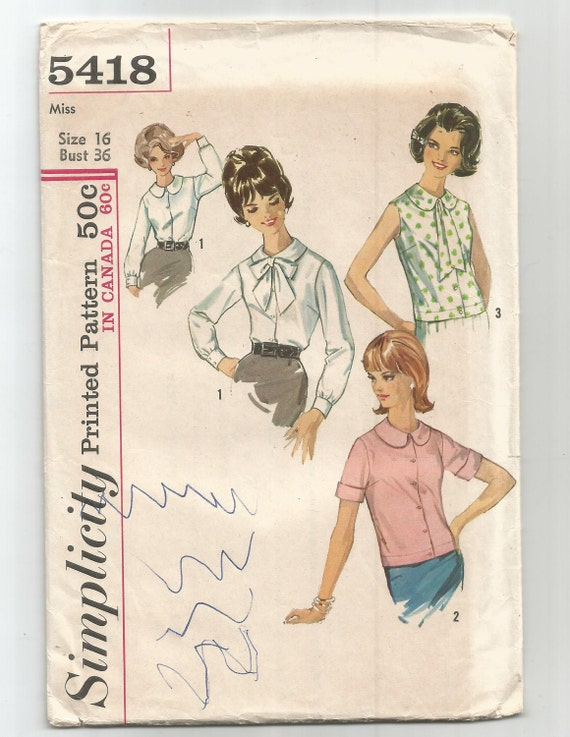 5418 Simplicity Sewing Pattern Front Button Blouse Sleeve | Etsy