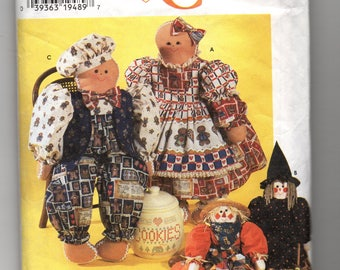 7345 Simplicity Sewing Pattern Gingerbread Girl & Boy Witch Scarecrow Dolls Fall Craft Halloween