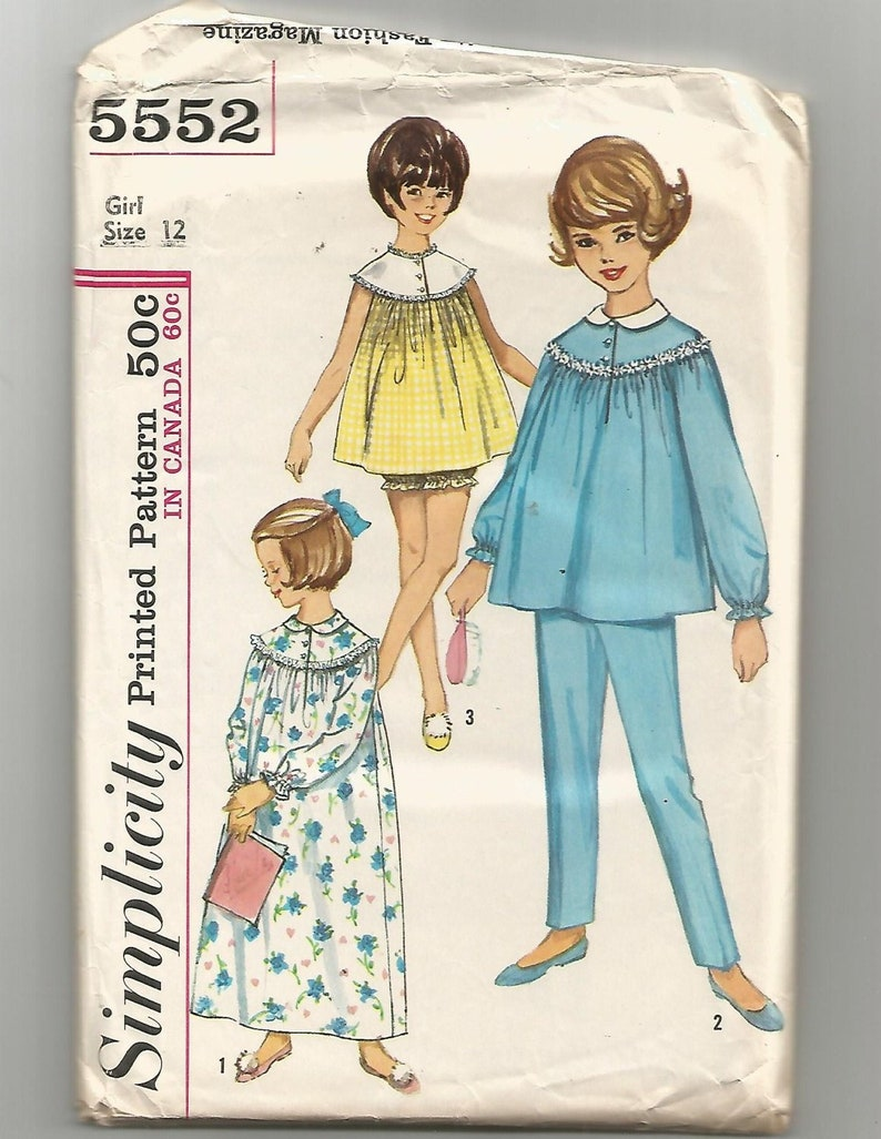 5552 Simplicity Sewing Pattern Girls Nightgown Pajamas Panties Size 12  Vintage 1... 5552 Simplicity Sewing Pattern Girls Nightgown Pajamas Panties  Size 12 ... 4c9730ba4