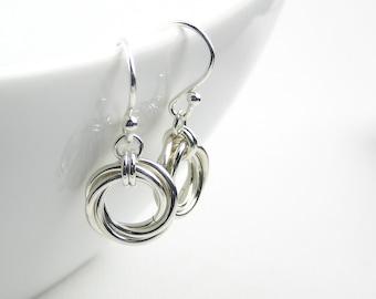 Love Knot Sterling Silver Earring, Mobius Flower Earring, Sterling Silver Chainmaille Earrings,  Everyday Jewellery