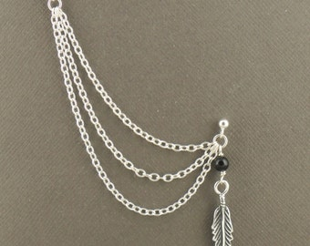 Double Piercing Cartilage Chain Earring With Feather Charm And Black Onyx In Sterling Silver 925 Tribal Jewellery Single Earring
