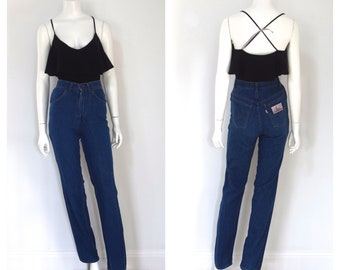 65c1ecd26c Levis Farmers Mechanics Miners/ High Waisted Mom Jeans/ 1970s Straight Leg  Denim/ Dark Rinse/ Women's Size XS Small