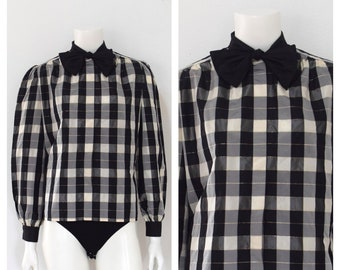 a91e8eac14cdb5 1980s Valentino Boutique Blouse  Black White Checked Shirt  Designer Plaid  Italian Bowtie Top  Womens Size XS Smallll