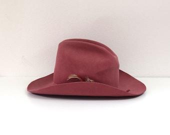 bb88c0d9e58ce Pink Cowboy Hat  Dynafelt Western Hat  Beaver Fur Rancher Hat  Boho Cowboy  Hat  Size Medium