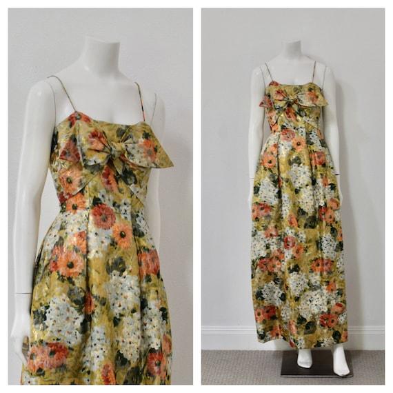 70s Designer Evening Gown/ Metallic Floral Formal