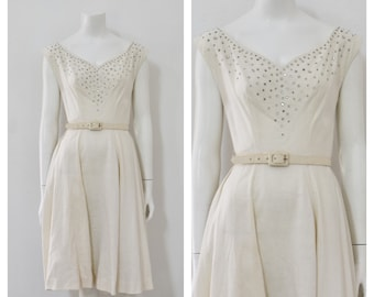 50s White Linen Dress/ 1950s Party Dress with Rhinestone Bodice/ Wedding Dress/ Women's Size Small