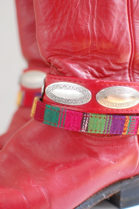 Custom Festival Boots/ Justin Red Roper Boots/ Re… - image 3