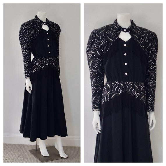 1980s Country Western Fringe Dress/ Lace Dolly Par