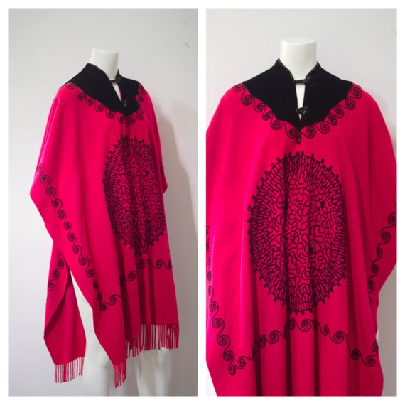 70s Embroidered Woven Wool Cape/ Pink Boho Poncho