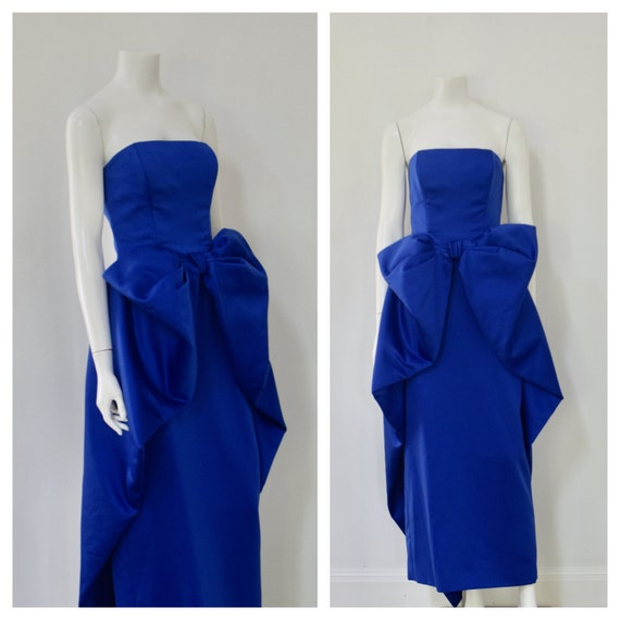 Victor Costa Evening Dress/ Blue Sculptural Evenin