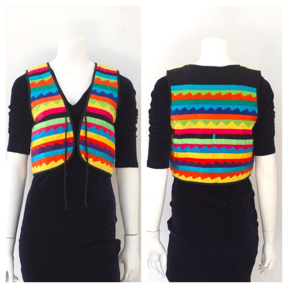 Josefa Rainbow Patchwork Vest/ Cropped Mexican Rib