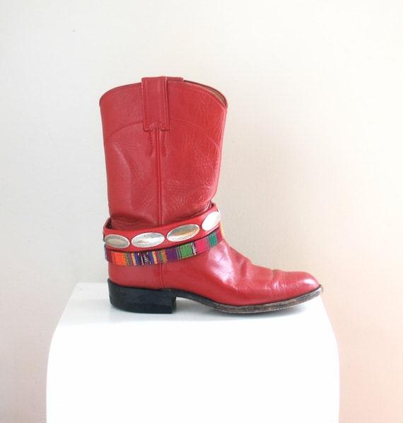 Custom Festival Boots/ Justin Red Roper Boots/ Re… - image 1