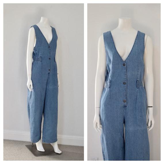 1990s Sleeveless Denim Jumpsuit/ 90s does 70s Jean