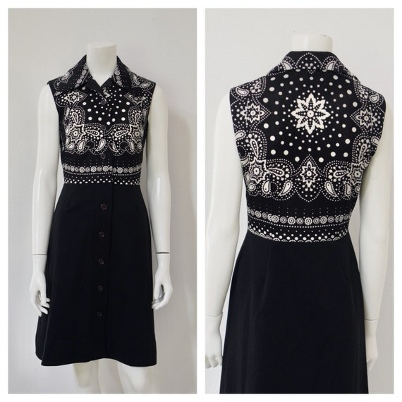 60s Hankerchief Pattern Dress/ Sleeveless Witchy T