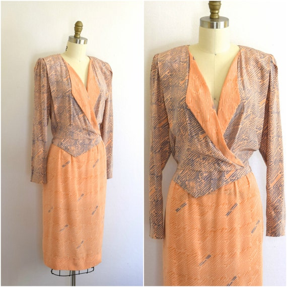 Avant Garde 80s Silk Dress/ 80s Designer Graphic P
